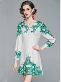 Fashion Wholesale V-neck Flowers Long Sleeve Dress