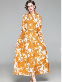 Charming Retro Single-breasted Puff Sleeve Flowers Maxi Dress