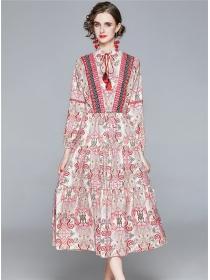 National Fashion Tie Waist Flowers Long Sleeve Dress
