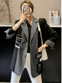 Fashion 2 Colors Block Tailored Collar Patches Loosen Coat
