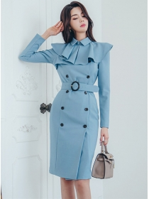 Elegant Fashion Flouncing Collar Double-breasted Coat Dress