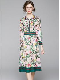 Europe Charming High Waist Flowers Shirt A-line Dress