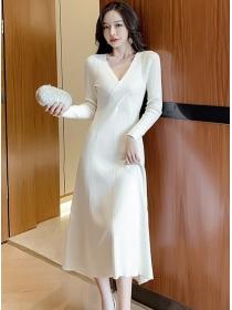 Korea Stylish 2 Colors V-neck Slim Knitting A-line Dress