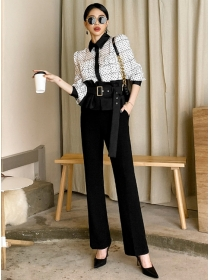 Fashion Lady Dots Loosen Blouse with High Waist Long Pants