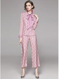 Vogue Lady Tie Collar Stripes Wide-leg Long Suits