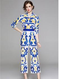 Retro Europe High Waist Shirt Collar Wide-leg Flowers Suits
