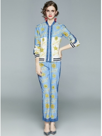 Fashion Europe Zipper Open Stars Printings Long Suits