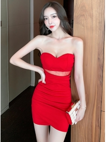 Sexy Fashion 3 Colors Strapless Pleated Slim Dress