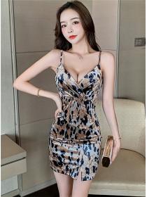 Wholesale Fashion 2 Colors Leopard Flowers Straps Dress