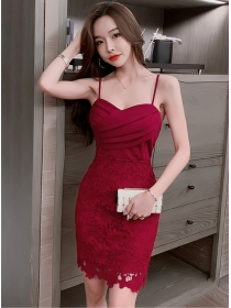 Fashion Lady Pleated Bust Lace Flowers Straps Slim Dress