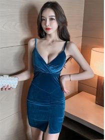 Sexy Lady 3 Colors Low V-neck Skinny Velvet Dress