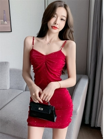Fashion Korea 2 Colors Pleated Shining Gauze Straps Dress