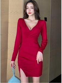 Autumn 2 Colors V-neck Pleated Slim Long Sleeve Dress