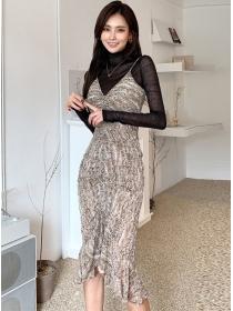 Fashion Lady Lace Blouse with Fishtail Slim Long Dress