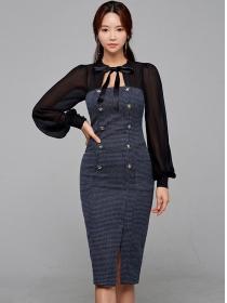 Retro Fashion Double-breasted Puff Sleeve Slim Dress