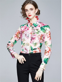 Pretty Europe Shirt Collar Flowers Slim Long Sleeve Blouse