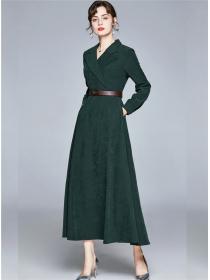 Brand New Tailored Collar High Waist A-line Long Dress