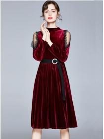 Grace Retro Fashion Off Shoulder Velvet Pleated A-line Dress