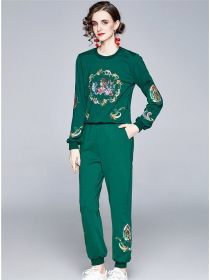 Europe Stylish 3 Colors Embroidery Cotton Two Pieces Suits