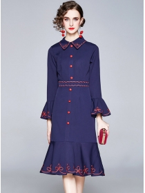 Modern Single-breasted Flare Sleeve Embroidery Fishtail Dress