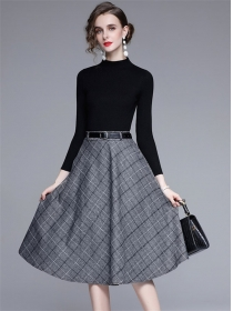 Autumn New Knit Tops with Plaids A-line Midi Skirt