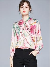 Wholesale Stylish Tie Collar Flowers Long Sleeve Blouse