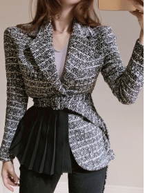 Winter Fashion 2 Colors Pleated Flouncing Thick Woolen Coat