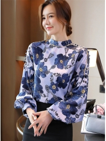 Charming Retro 2 Colors Flowers Puff Sleeve Loosen Blouse