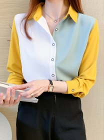 Modern Lady Color Block Shirt Collar Long Sleeve Blouse