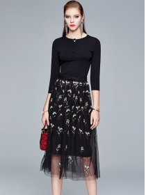 Wholesale Fashion Knit Tops with Sequins Gauze Fluffy Skirt