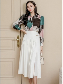 Modern Lady Color Block Blouse with High Waist Split Skirt