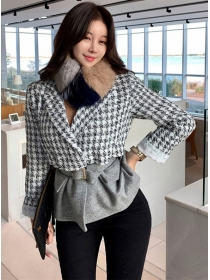 Modern Lady Tailored Collar Tie Waist Houndstooth Woolen Coat