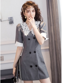 Fashion Korea Lace Doll Collar Double-breasted Slim Dress