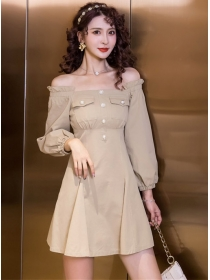 Wholesale Fashion Boat Neck Puff Sleeve A-line Dress