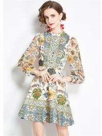 Bohemia Europe Flowers Puff Sleeve A-line Dress