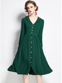 Boutique Fashion Single-breasted Long Sleeve Dress