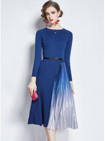 Europe Stylish 2 Colors Pleated Knitting A-line Dress