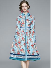 Wholesale Europe Shirt Collar Flowers A-line Long Dress