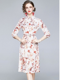 Charming Europe Single-breasted Flowers Shirt Dress