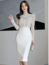 Grace OL Lace Long Sleeve Splicing Skinny Dress