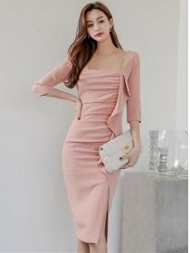 Wholesale Korea Square Collar Flouncing Pleated Slim Dress