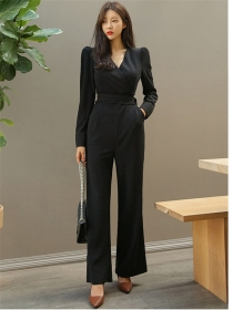 Autumn New High Waist V-neck Slim Long Jumpsuits