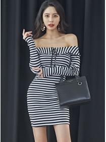 Wholesale Sexy Boat neck Stripes Slim Cotton Dress