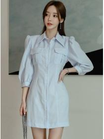 Modern Lady Puff Sleeve Stripes Shirt A-line Dress