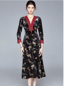 Fashion Lady Lace V-neck Single-breasted Flowers Velvet Dress