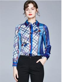 Wholesale Europe Color Block Plaids Long Sleeve Blouse