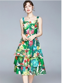 Lovely Europe High Waist Layered Flouncing Flowers Dress