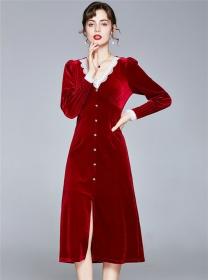 Wholesale Europe Lace V-neck Split Velvet Long Dress
