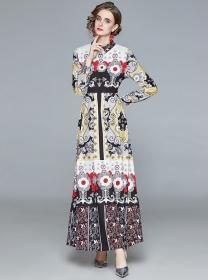 Pretty Fashion High Waist Flowers Shirt Maxi Dress