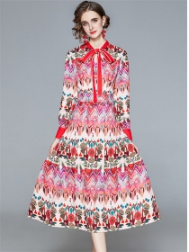 Charming Fashion Tie Collar Flowers Long Sleeve Dress